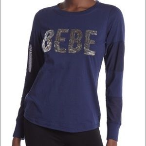 Bebe Top Sequin Logo W/Mesh sleeves